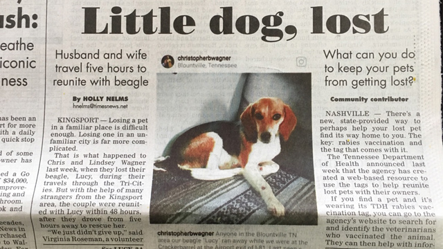 Lucy makes the local paper | #FindsterDuo #PetTracker