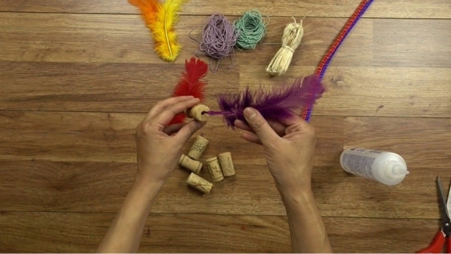cork feathers diy cat toys